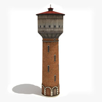 3d low-poly water tower