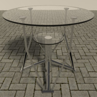 chrome table glass 3d 3ds