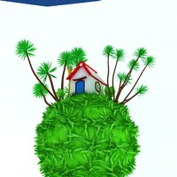 small house green earth 3d model