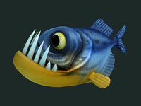 piranha cartoon 3d obj