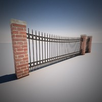 curved wrought iron fence 3ds