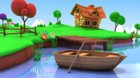 cartoon fishing pond 3d obj