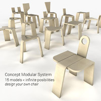 3d modular chairs stools