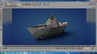 3d model of boat origami