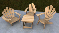 3d cartoon adirondack chair model
