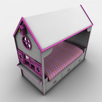 childrens bed cottage 3d model