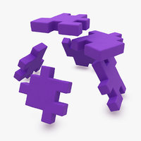 3d happy cube purple animation model