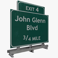3d highway signage 5 model