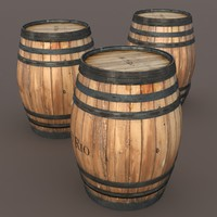 maya old wooden barrel modeled