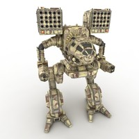 3d model of robot warrior mech