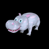 hippo cartoon 3d obj