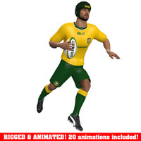 3d model of rugby player animations