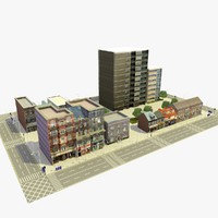 3d city urban block c model