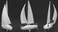 3d model small sailboat sail materials