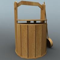 3d wooden bucket model