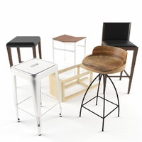 3d bar stool set model