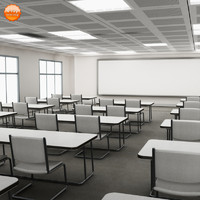 3d model classroom benches architectural