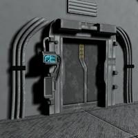 3ds max sci-fi door