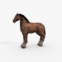 3d model horse draft