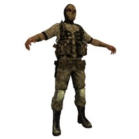paramilitary soldier 3d obj