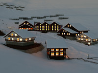Ski Town Winter Christmas Scene