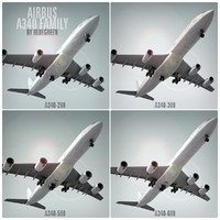 3d model of airbus a340 family