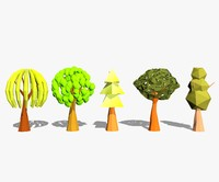 3d cartoon trees