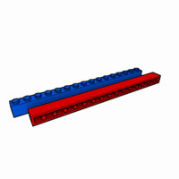 piece lego brick 1x16 3d model