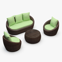 3d avo furniture set rattan