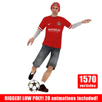 3d model ready street soccer player