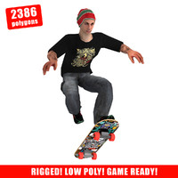 3d max skater skateboard rigged