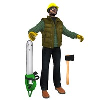3d model lumberjack worker man