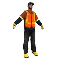 garbage worker man 3d model