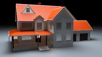 3d model north american garden house wood