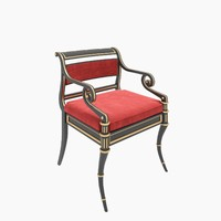 3d model of baker regency armchair chair