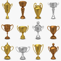 3d model mega trophy cup set