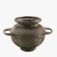 3d model old worn clay pot
