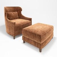 3d model baker tuileries armchair ottoman