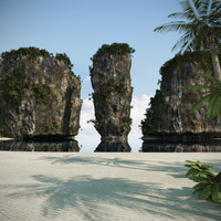 3d model beach thailand