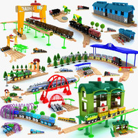 3d model kids train toys set