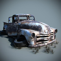 3d old car wreck model