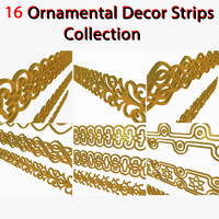 3D Symbols Strip Ornaments Collection stripe plate layer