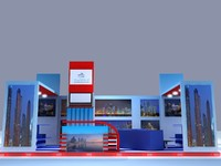 3d booth blue electricity