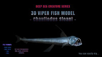viper fish chauliodus sloani 3d max