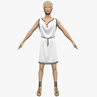 3d roman hair cloth model