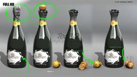 3d champagne bottle