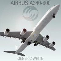 3d model of airbus a340-600 generic white