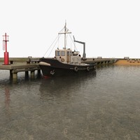 3d model harbour pier beacon