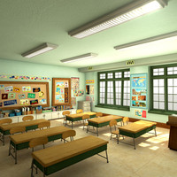 3d cartoon school classroom scene model