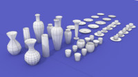 mugs coffee cups vases 3d model